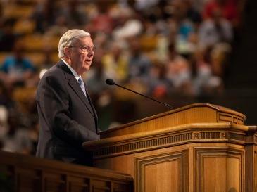 Elder Ballard speaks at the Education Week devotional.